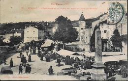 C.P.A. - FR. > [81] Tarn > Brassac > L'Obélisque De La Place Du Pont Un Jour De Marché Très Animée Daté 1907 - En L'état - Brassac