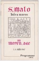 Saint Malo 35 France -programme  Fête Moyen-age Intra Muros  - Juin 1967 - Programs
