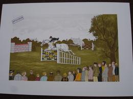Lithographie Originale De Vincent Haddelsey 1934-2010 Non Signee: Le Steeple Chase (Cheval, Saut D'Obstacles, Course) - Estampes & Gravures