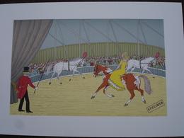 Lithographie Originale De Vincent Haddelsey 1934-2010 Non Signee: Le Cirque (Cheval, Dresseur) - Estampes & Gravures
