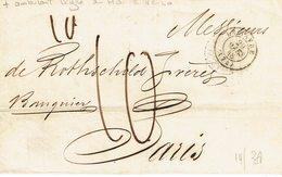 Le Havre Enveloppe Du 20 Mars 1848 Pour Paris Cachet Au Dos Ligne Le Havre Et Cachet Poste Restante - 1801-1848: Precursors XIX