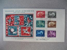Enveloppe FDC De Luxembourg  1954    N° 484 à 489  Caritas Oeuvres Sociales   à Voir - FDC
