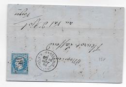 1863 - PARIS - LETTRE Avec ETOILE 19 R.D'ANGOULE DU TPLE - SIGNEE BAUDOT => VAL D'AJOL - IND 13 !! - Marcophilie (Lettres)