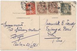 CARTE POSTALE 1921 AVEC 4 TIMBRES TYPES SEMEUSE / BLANC - 1921-1960: Periodo Moderno