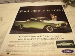 ANCIENNE PUBLICITE  CONSUL CAPRI AUTO FORD  1961 - Cars