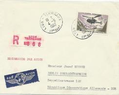LETTRE RECOMMANDEE PAR AVION 1962 A DESTINATION DE L'ALLEMAGNE AVEC TIMBRE A 10 FR ALOUETTE - Poststempel (Briefe)