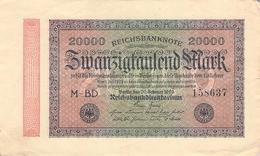 20.000 Mark Reichsbanknote VG/G (IV) - [ 3] 1918-1933 : Repubblica  Di Weimar