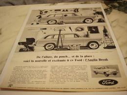 ANCIENNE PUBLICITE L ANGLIA BREAK  AUTO FORD  1961 - Voitures