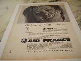 ANCIENNE PUBLICITE HIVER A MIAMI AIR FRANCE   1961 - Advertisements