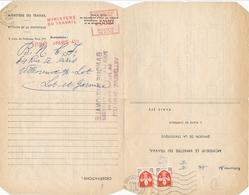 EMA à 8f Sur Formulaire MINISTERE DU TRAVAIL Avec Réponse Affrt BLASONS Nouveaux Francs Sur Lême Document - Lettre - Marcophilie (Lettres)