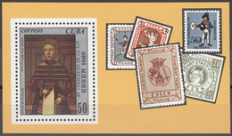 CUBA 1980, 49th FlP CONGRESS In ESSEN, PICTURE Of LADY And STAMPS On BLOCK, COMPLETE MNH BLOCK, GOOD QUALITY, *** - Cuba