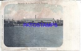 114328 PARAGUAY ASUNCION ASERADEROS DE MADERAS DAMAGED  POSTAL POSTCARD - Paraguay