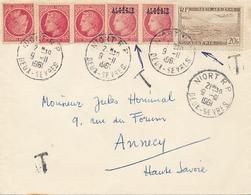 MIXTE FRANCE ALGERIE + Sur Lettre TAXÉE - Affrt Céres 676 + 20f Poste Aérienne - Postage Due Covers