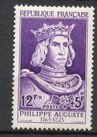 1955-- Personnages Célèbres--Philippe Auguste  N° 1027 .--NEUF--gomme Intacte--cote  20 €  .........à  Saisir - France