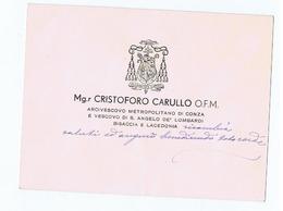 VESCOVO / BISHOP S. ANGELO DE LOMBARDI - CRISTOFORO CARULLO ( Stefanaconi / VIBO VALENTIA ) AUTOGRAFO / AUTOGRAPH - Autographs