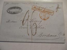 MARQUE POSTALE  LETTRE   NOUVELLE ORLEANS  Vers  BORDEAUX  1842 - Marcophilie (Lettres)