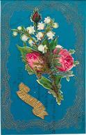 Cpa CELLULOID BLEU FONCE - Découpi De Muguet Et Roses - Unclassified