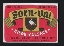 "étiquette Bière D'Alsace Zorn Val  L Haag Metzger & Cie  Hochfelden "" Cigogne"" - Beer"