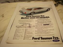 ANCIENNE PUBLICITE VOITURES TAUNUS DE FORD  1977 - Voitures