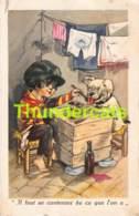CPA ILLUSTRATEUR GERMAINE BOURET CHIEN GARCON  ARTIST SIGNED BOY DOG BONZO BOULEDOGUE BULLDOG - Bouret, Germaine