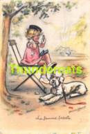 CPA ILLUSTRATEUR GERMAINE BOURET CHIEN FILLE  ARTIST SIGNED GIRL DOG CANICHE POODLE - Bouret, Germaine