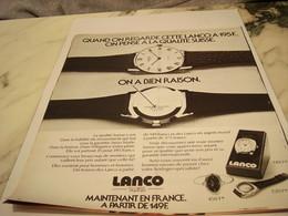 ANCIENNE PUBLICITE MONTRE LACO 1975 - Joyas & Relojería
