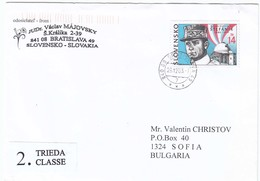 Slovakia 2003 - 14 Sk. - Milan Stefanik, Letter Ordinary Travel To Bulgaria - Slovakia