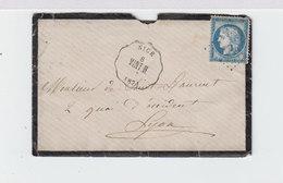 Sur Env. Avec Courrier Cachet Nice Ligne Vint. M. Type Céres 25 C. Bleu. C. Marseille à Lyon. (2416x) - Railway Post