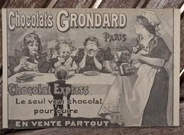 CPA - Chocolats Grondard Paris - Publicité