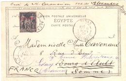 ALEXANDRIE Egypte Carte Postale 10c Sage N/B Surchargé Yv 7  Dest AULT Somme Réexpédié Sedan Ardennes Ob 1901 - Alexandrie (1899-1931)