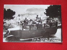 MONACO - AUTOCAR : SANTA - SUR LA GRANDE CORNICHE LE 15 MAI 1936 - VUE DE LA PRINCIPAUTE EN BAS.... - Monaco