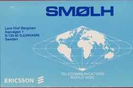 QSL Card Amateur Radio Funkkarte Sweden Sverige 1982 Smolh Djurhamn Ericsson Telecommunications World Wide - Radio Amatoriale