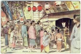 Illustrateur : Mortimer Menpes. Japan-British Exhibition, 1910. Oilette. Outside A Theatre - Illustrateurs & Photographes