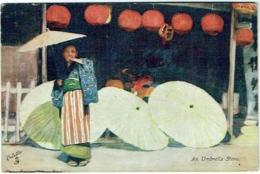 Illustrateur : Mortimer Menpes. Japan-British Exhibition, 1910. Oilette. An Umbrella Store. - Illustrateurs & Photographes