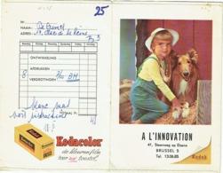 Foto/Photo. Pochette Kodak. Enfant Et Chien Lassie. A L'Innovation, Steenweg Op Elsene, Brussel. - Zubehör & Material