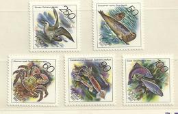 Russia, Fauna Of Pacific Ocean, Fish, Birds, Sea Mammals 1993, 5 Stamps - Nuovi