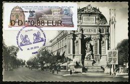FRANCE (2019). Carte Maximum Card - ATM LISA Salon Philatélique Printemps PARIS 2019 - Fontaine Saint-Michel, Paris - 2010-...