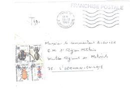 """PARIS 11 Lettre Marque """"Franchise Postale"""" Ob 1985 Txe 4,90 Type Insectes Yv T 111 106 105 110 Dest Armée 78 St Germain - 1960-.... Cartas"""