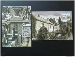 Carte Maximum Card (x2) Moulin à Eau Watermill Luxembourg 1997 - Cartes Maximum
