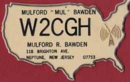 Very Rare 'Plastic' QSL Card Amateur Radio Funkkarte Mulford Mul Bawden Neptune New Jersey US USA 1976 - Radio Amateur