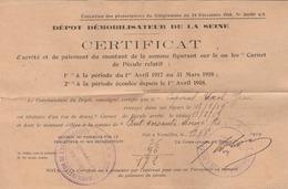 Certificat D'attribution De Pécule Au Soldat Après Démobilisation-août 1919. Cachet Du Centre De L'Aéronautique G.M.P. - 1914-18