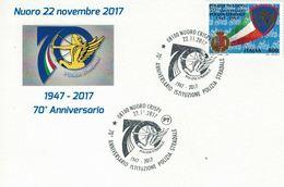 Nuoro, Sardegna, Polizia Di Stato, Marcofilia, Annullo Postale, Polizia Stradale, 70° Anniversario - Nuoro