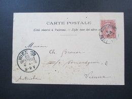Belgien 1898 Postkarte Paul Antony Liege Nach Wien Gesendet! Firmenkarte - 1893-1900 Schmaler Bart