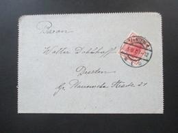 Österreich 1907 Kartenbrief / Gezähnter Brief Mit Der Nr. 134 EF Nach Dresden Gesendet Mit Ak Stempel - Briefe U. Dokumente