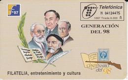 TARJETA DE ESPAÑA DE FILATELIA'97 (STAMP-SELLO) GENERACION DEL 98 (ESCOPETA) - Francobolli & Monete