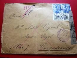 WW2 ESPAÑA CARTA EN CENSURA SUBERNATIVA ESPAÑOLA DE BARCELONA TO CARQUEIRANNE-Carta España 1931-Hoy: II. República -1942 - 1931-50 Cartas