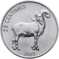 Congo. Coin. 25 Centimes. 2002. VF / XF. Animals. A Lion. Barbed Ram - Congo (Democratic Republic 1998)