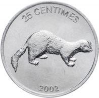 Congo. Coin. 25 Centimes. 2002. VF / XF. Animals. A Lion. Weasel - Congo (Democratic Republic 1998)