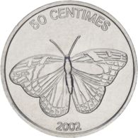 Congo. Coin. 50 Centimeters 2002. VF / XF. A Lion. Butterfly - Congo (Democratic Republic 1998)
