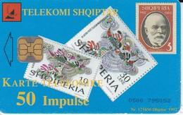 TARJETA DE ALBANIA CON UNOS SELLOS   (STAMP-SELLO) - Sellos & Monedas